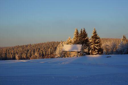 erzgebirge: wintry snowy landscape