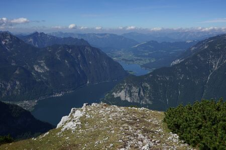 lake dweller: View from Dachstein to Lake Hallstatt Stock Photo