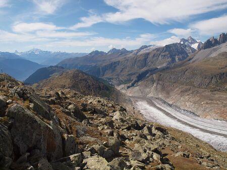 aletsch: View from Bettmerhorn over the Aletsch glacier to Belalp
