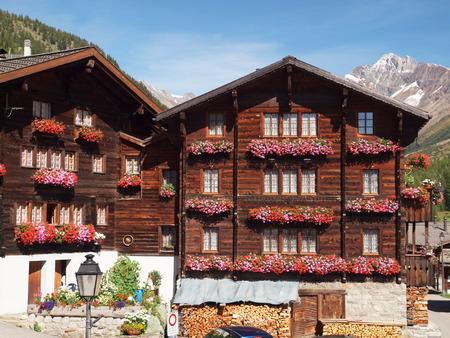 wooden houses: flower-decked wooden houses in Loetschental