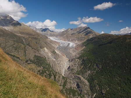Great Aletsch Glacier from the Belalp Stock Photo