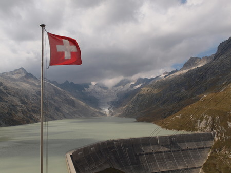 Oberaarsee with swiss flag