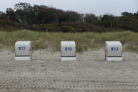 Beach chairs on the Baltic Sea Stock Photo