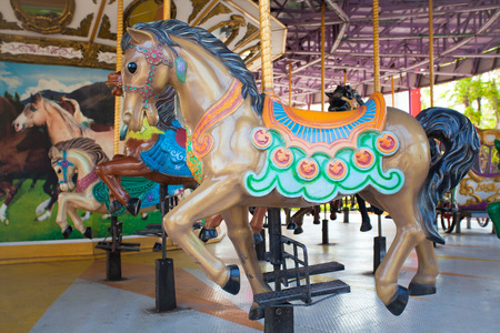 Carousel Horses at Siam park city , one of most famous amusement park in Bangkok Thailand  photo