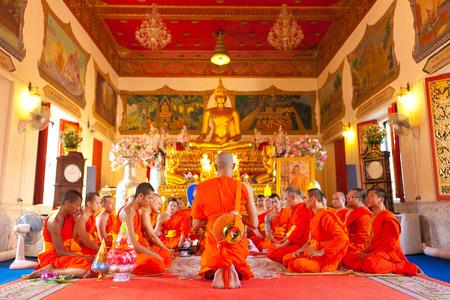 ordain: BANGKOK,THAILAND - DEC 16  Ordain into monkhood ceremony in temple bangkok thailand on Dec 16 , 2012