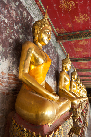 veneration: golden buddhas lined up along the wall in temple