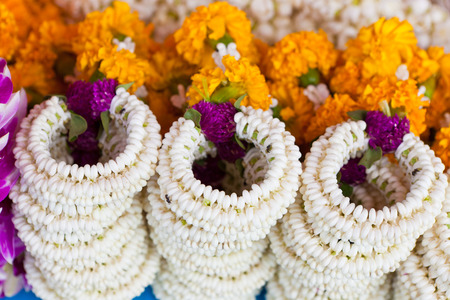 malai: Thai traditional jasmine garland that called Malai in Thai use for worship to the buddha