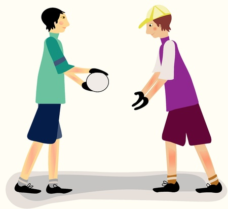 co operation: Two young men begiinning to play ball together