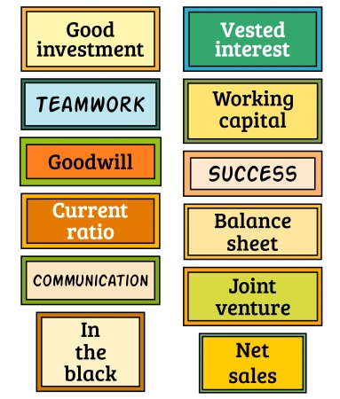 Twelve signs with business oriented words Illusztráció