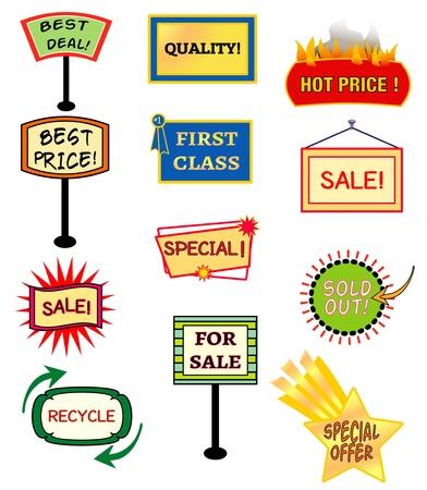 Twelve dyamic signs with sales oriented words Illusztráció