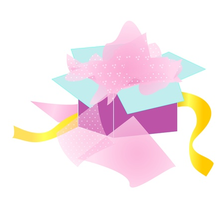An opened gift box with tissue paper and ribbon