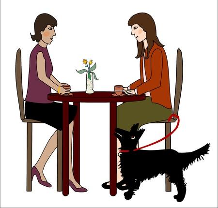Twee vrouwen zitten aan een tafel, praten, een hond kijkt omhoog