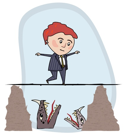 Man in a business suit walking a tightrope, over the heads of monsters below