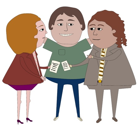 Three people from different areas of employment working together Stock fotó - 20991843