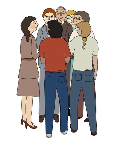 Group of people gather to talk