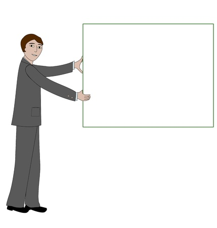 Business man holds up a blank sign or message board Stock fotó - 21130959