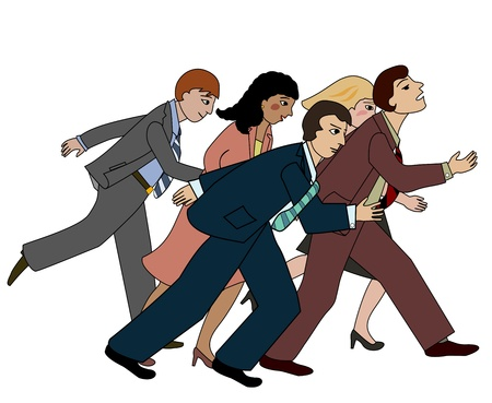 Group of business people running