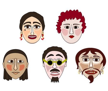 Five original human masks on a white background