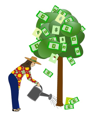 money: Watering the Money Tree Illustration