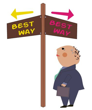 Crossroad sign with business man who is thinking about which way to go