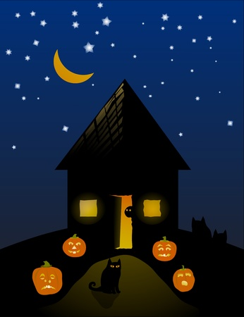 Black house on a hill, pumpkins, black cats, and a spook