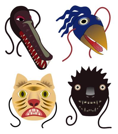 Four monster animal masks  alligator, bird, two cats Illusztráció