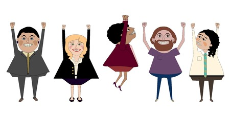 three men: Three men and two women of various types celebrating with an air punch Illustration