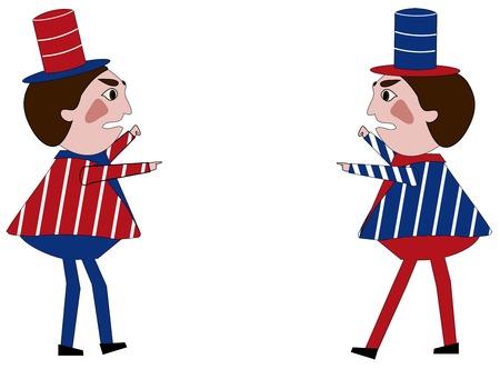 oposicion: Dos pol�ticos que llevan los colores de la bandera americana, en oposici�n a los otros