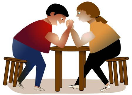 Two men struggling in an arm wrestle, sitting at a table