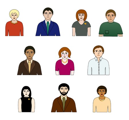 varying: Ten people of varying types, different clothing  From the waist up  Illustration