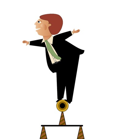 business focus: Business man in a situation requiring his balance and focus  Illustration