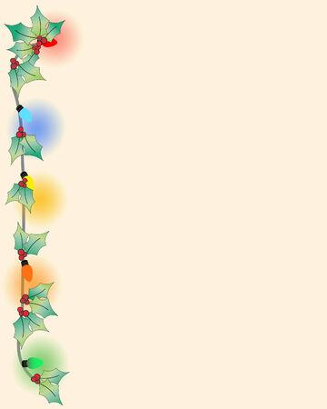 Fifties style page with Christmas bulbs, holly, lights Illusztráció