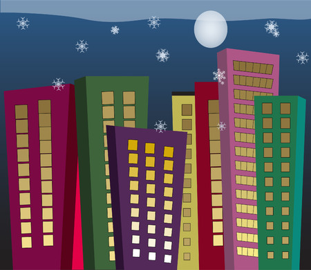 Colorful tall buildings in winter with snowflakes and winter moon Illusztráció
