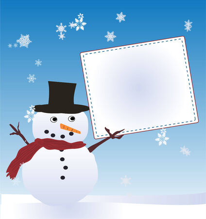 Snow Man with Message Board Stock fotó - 24159172