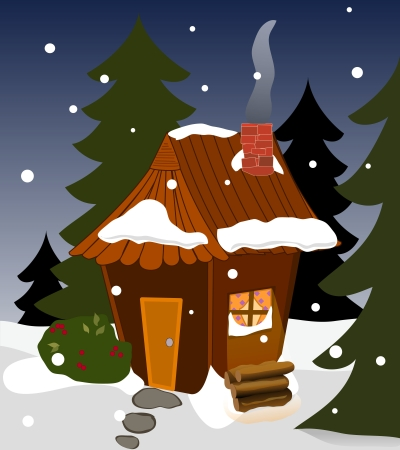 A cabin in winter, evergreens, light from a window, chimney and smoke, snowing
