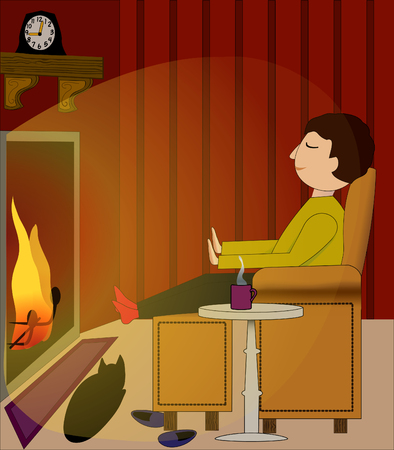 Cozy winter night scene with a man relaxing before the fireplace Illustration