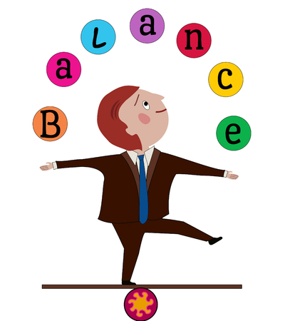 Man in business suit balancing, juggling the word  Balance