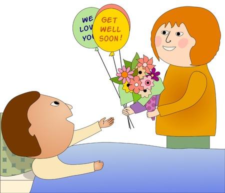 hopitaux: Femme visiter un malade qui est heureux de la voir, elle apporte des fleurs et des ballons