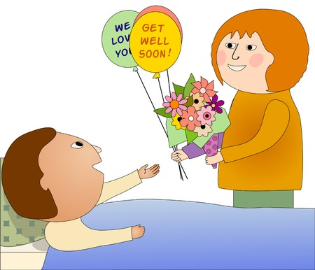 Woman visiting a sick man who is happy to see her  She brings flowers and balloons Иллюстрация