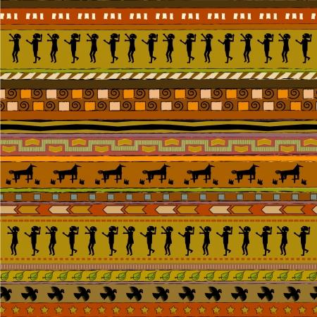 사람들, 사슴 유형, 조류 유형으로 다채로운, 민족 스타일 패턴 페이지 일러스트