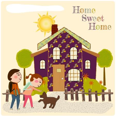 Kinderen thuiskomen na school, begroet door een hond