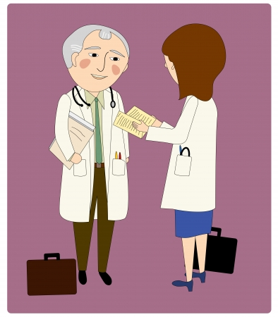 Two doctors in lab coats talking, briefcases, man and woman