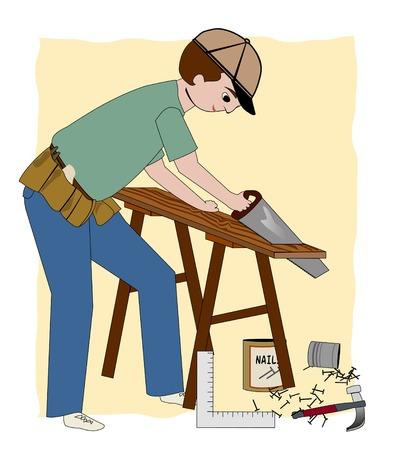 A working carpenter, builder, or general contractor, with a sawhorse, wood, nails