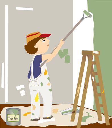 Man in overalls painting walls with a roller   Has a ladder, drop cloth, and can of paint Stock fotó - 25417080
