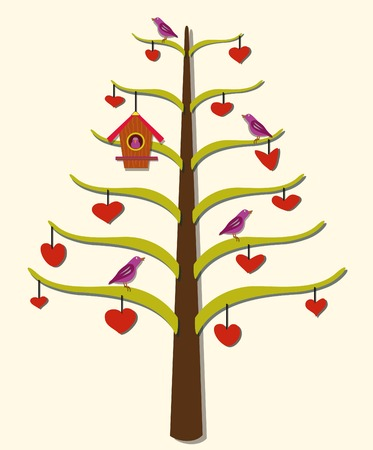 A stylized tree with hearts, birds, and a birdhouse