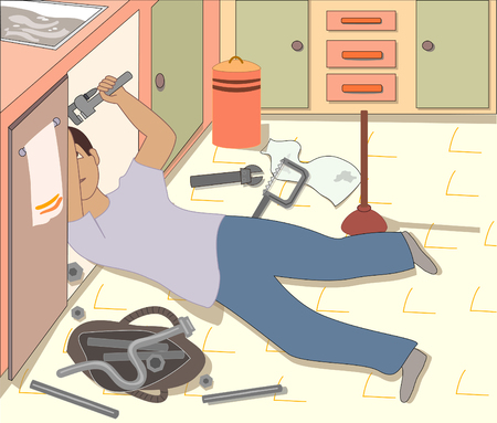 A kitchen scene with a plumber working under the sink