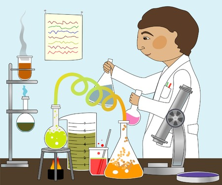 Man in lab coat working with microscope, Bunsen burner, various glass containers  Ilustrace