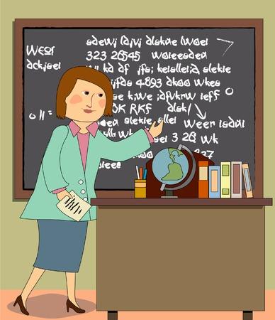 A teacher standing in front of the blackboard, with desk, books, globe Stock fotó - 26618198