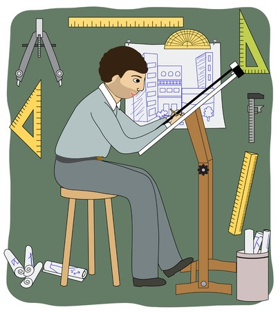 architect tools: A male architect working in his studio, with some drafting tools