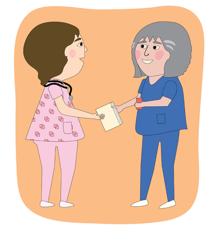 Two women nurses talking, with a chart, stethoscope  One is a senior in age